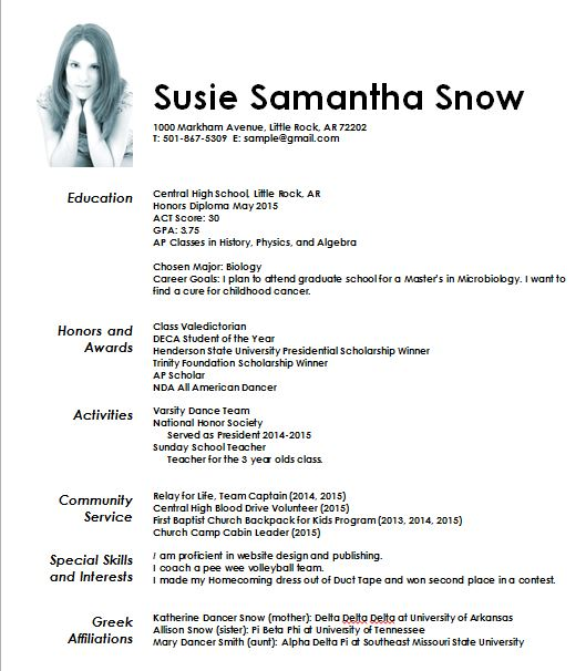 Sample Recruitment Resume 2  Sorority Recruitment Resume
